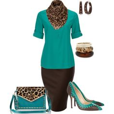 Leopard Teal by penny-martin on Polyvore featuring polyvore, fashion, style, Oscar de la Renta, MOOD and The Sak