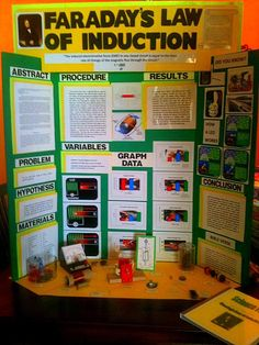 SCIENCE FAIR MIDDLE SCHOOL DISPLAY BOARD GRADE 5 EXAMPLE WITH EXPERIMENT DISPLAY  Display Board, Header, Microsoft Publisher, Microsoft Excel, Project Titles, and Stick on Letters.  Project kit for a magnetic motor was used to test Faraday's Law of Induction.  #winning_science_fair_projects  #middle_school_science_fair_projects