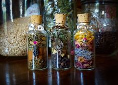 Magic Herbal Spell Bottles, set of three Wiccan, Magick, Witchcraft, Pagan, Jar Spells, Witch Bottles, Herbal Oil, Witch Aesthetic, Kitchen Witch
