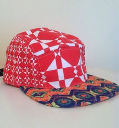 Red Geometric reconstructed SnapBack by ALIENSofBROOKLYN on Etsy, $30.00