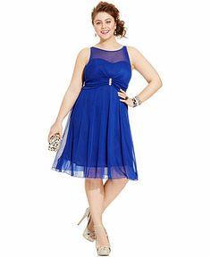 Ruby Rox Plus Size Sleeveless Illusion Rhinestone Dress - Junior Plus Dresses - Plus Sizes - Macy's