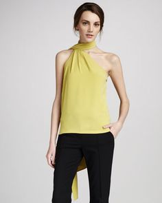 Scarf-Neck Top by Halston Heritage at Neiman Marcus.