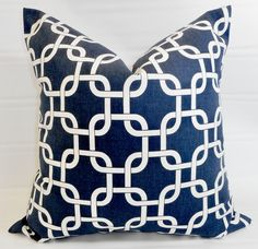 Blue & White Pillow cover. Gotcha Chainlink Blue and  white Decorative Pillow.sham cover. Sham Pillow Cover Pillow case. Select size. by TwistedBobbinDesigns on Etsy