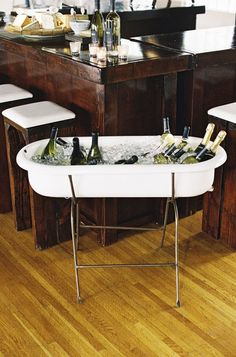 wine station // bathtub with ice :) would be really cute for baby shower using baby tub!