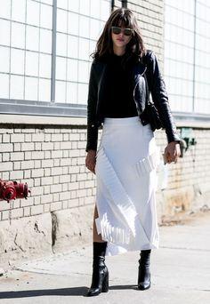 white fringe skirt black leather jacket black boots street style