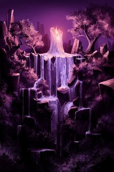 Inspiration | Purple Candle Waterfall Digital Fantasy Art By Aquasixio