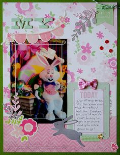 Easter scrapbook layout created by @Suzanna Scraps using @Pebbles Inc. #SpecialDeliver collection #scrapbooking #pebblesinc