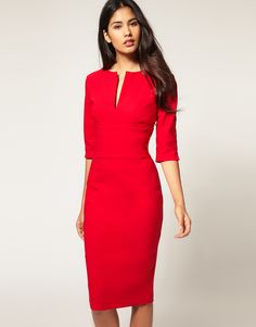 Hybrid Dress with 3/4 Sleeves and Keyhole Neck