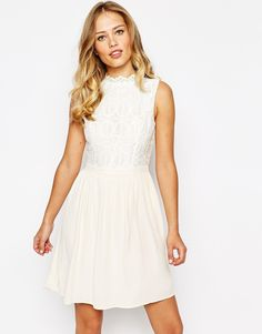 Oasis Crochet Lace Detail Skater Dress