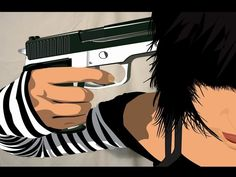Emo girl holding a gun to her head