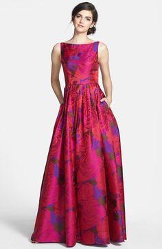 this fuchsia / purple floral print jacquard maxi dress / ballgown is spectacular