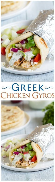 Gryos with Greek Chicken. Homemade Tzatzkiki and Pita Flatbread - these are one of my absolute favorite dinners! LOVE this recipe!