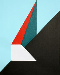 Geometric Abstraction Painting #45. Acrylic on board. June 18th 2013.