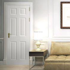 The Regency white primed 6 panel door with smooth surfaces is a cost effective door which is ideal for home renovations. Internal Door Handles, Internal Doors, White Panel Doors, Door Molding, Apartment Door, Flat Interior, Traditional Doors, Bathroom Doors, White Paneling