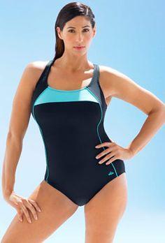 48ff6158630 Chlorine Resistant - Chlorine Resistant Xtra Life Lycra Mint Border X-Back  Swimsuit One Piece