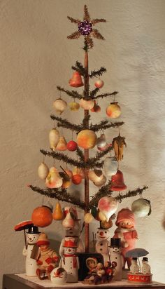 vintage German feather tree with spun cotton ornaments