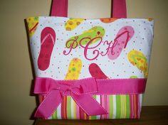 flip flop fabric | Waverly Flip Flop Fabric Handbag Purse Tote by BridgetsStitches