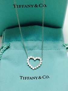 Tiffany & Co Platinum Diamond Heart Pendant Necklace