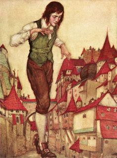 """I walked with the utmost circumspection, to avoid treading. 'A Voyage to Lilliput' from """"Gulliver's travels"""" illustrated by Willy Pogány Illustrations, Illustration Art, Jonathan Swift, Gulliver's Travels, Fairytale Art, Page Turner, Conte, Childrens Books, Fairy Tales"""