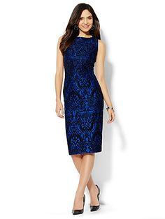 Flocked Scuba Midi Sheath Dress  - New York & Company