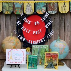 French inspiration:  Madeline Party by Kojo Designs...book station with vintage book page banner + book quote word silhouette banner