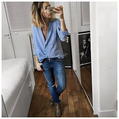 Et tenue en entier! Bonne soiree! #isabelmarant #hironaeparis #leonandharper | blue shirt and blue jeans.