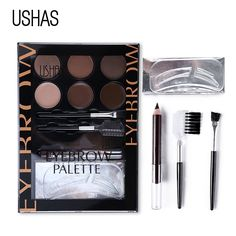 USHAS Eyebrow Makeup Set Eye Brow Powder Matte Eye Shadow+Pencil+Cream Concealer+Eyebrow Brush+Brow Card Bronzer Contour Palette