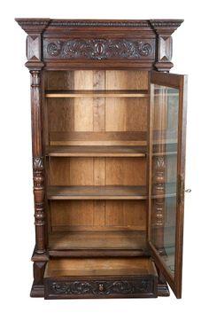 Antique Glass Front Bookcase | Antiques : Bookcases : antique , carved , oak