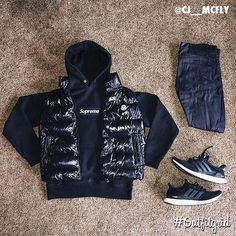 Today's top #outfitgrid is by @cj__mcfly. ▫️#Supreme #Hoodie ▫️#Moncler #Vest ▫️#NakedAndFamous #Denim ▫️#Adidas #Ultraboost