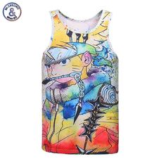 7.5$  Buy here - Mr.1991INC Newest Fashion Men/boy Cartoon 3d vest Funny print Anime characters summer cool tank tops slim tees Asia size   #aliexpressideas
