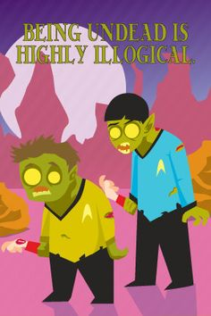 Zombie Trek Illogical Geeky Greeting Card  All by monkeyminion, $3.00