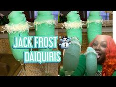 Jack Frost Daiquiri HOW TO 2 shots of vodka 1 cup of pinapple juice shot of blue curacao 4 cups of ice Christmas Drinks, Christmas Holidays, Pinapple Juice, Vodka Shots, Blue Curacao, Daiquiri, Jack Frost, Cocktails, Make It Yourself