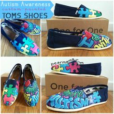 So cool. Custom-painted TOMS for Autism Awareness month. | #BabyCenterBlog
