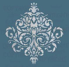 Motif de pochoir Damas grand mur murale FAUX 1010 par Lightsforever                                                                                                                                                                                 Plus