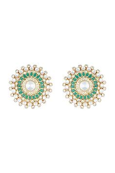 Featuring a pair of yellow rhodium plated stud earrings studded with faux polki stones and emerald, set in mixed metal. CARE: Store them in moisture free areas and keep them away from water and liquid fragrances. Pernia Pop Up Shop, Exclusive Collection, Mixed Metals, Designer Wear, Emerald, Pairs, Stud Earrings, Turquoise, Yellow