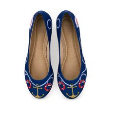 Sapatilha Bico Redondo Ilustrada com tema Navy Blue da Estilo Menina, Divertida como a Moda deve ser. modafun. Colecione.
