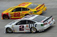 Brad Keselowski and Joey Logano Lacey Chabert, Brad Keselowski, Joey Logano, Nascar Diecast, Nascar Racing, Dodgers, Race Cars, Paint Schemes, Numbers