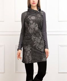 Charcoal Floral Button Sheath Dress #zulily #zulilyfinds