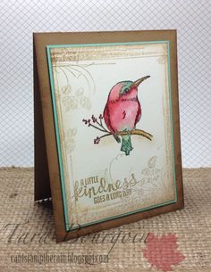 A Happy Thing stamp set by Stampin Up.  This card uses the Kingfisher bird stamp from the set. (La Belle Vie) Can't Stamp the Rain watercolored card.