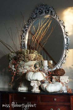 Fall decor - dried hydrangeas, white pumpkins - miss flibbertigibbet Thanksgiving Decorations, Seasonal Decor, Halloween Decorations, Holiday Decor, Thanksgiving Games, Holiday Parties, Fall Home Decor, Autumn Home, Fall Arrangements