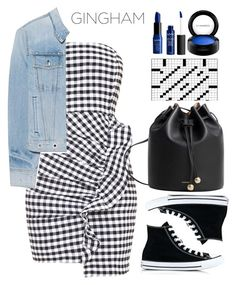 """""""Ailsia Black Gingham Frill Bandeau Bodycon Dress"""" by thestyleartisan ❤ liked on Polyvore featuring rag & bone, Converse, MAC Cosmetics, MANGO and gingham"""