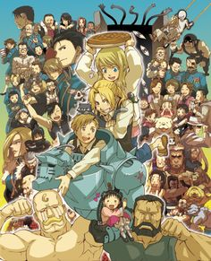 The whole cast of Full Metal Alchemist. This is how the show lives in my head, along with all my favorite Animes!