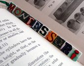 I'm thinking I could make bookmarks like this with cardstock and magazine cutouts and then modgepodge it.  Cute bookmark.