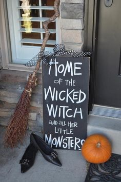 Front Porch Halloween Decorating Ideas • DIY projects, Tutorials and Ideas! Including, from 'boston interiors', this cute and cool halloween sign.