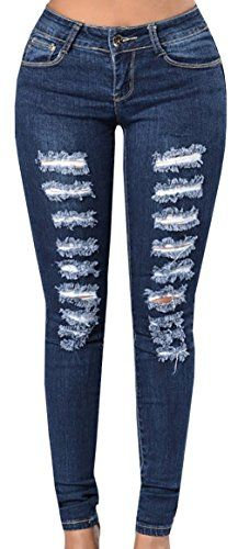 97ea26b8287c Dellytop Women s Blue Denim Stretch Jeans Destroy Skinny Ripped Distressed  Pants (Small