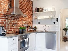 Do you want to make Kitchen Design with Exposed Brick Walls? Kitchen is a place which should remain comfortable, a fantastic mood in cooking to cook a delicious cuisine. You may try another style, Kitchen with Exposed Brick Walls might suit you. Stylish Kitchen, New Kitchen, Kitchen Dining, Kitchen Decor, Compact Kitchen, Decorating Kitchen, Kitchen White, Awesome Kitchen, Kitchen Modern