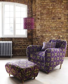Melin Tregwynt Fabric on Balzac Chair and Footstool by Heal's London Design Week, London Design Festival, Home Decor Furniture, Furniture Design, Welsh Blanket, Take A Seat, Cool Chairs, Home Living Room, Decoration