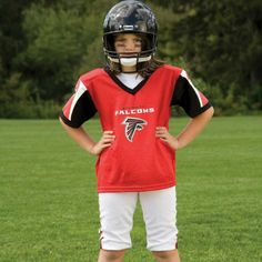 NFL® Deluxe Uniform Set - Atlanta Falcons - Your little football fan can look like a real gridiron warrior wearing this official NFL® uniform set! Included is an official home team jersey, team helmet with authentic logo and team colors and team pants that will have them looking ready to take the field. The set also includes iron-on numbers (0-9) for the back of the jersey. Makes a great Halloween costume! - See more at: http://franklinsports.com/shop/nfl-deluxe-uniform-set