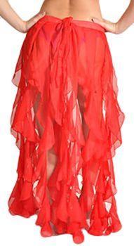 Ruffle Fringe Skirt Belt - RED