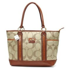 Coach Madison In Signature Large Khaki Tote ANE ($300)
